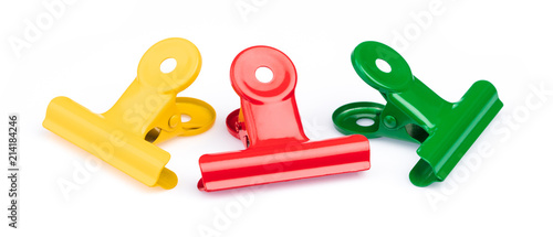 Fotografie, Obraz  collection stainless steel paper clips isolated on white background