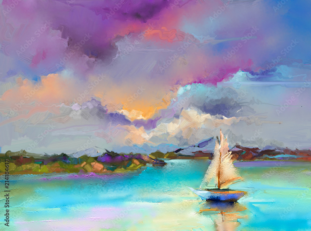 Fototapety, obrazy: Colorful oil painting on canvas texture. Impressionism image of seascape paintings with sunlight background. Modern art oil paintings with boat, sail on sea. Abstract contemporary art for background