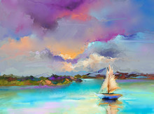 Colorful Oil Painting On Canva...