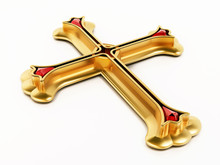 Gold Cross Isolated On White B...