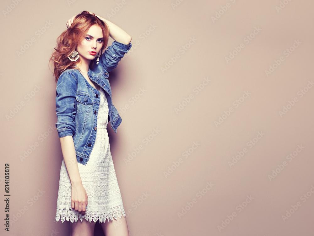 Fototapeta Fashion portrait of beautiful young woman in a summer dress. Beauty spring photo