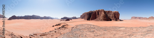 Fotomural Panorama of a red desert landscape in Wadi Rum valley, Jordan, Middle East, famo