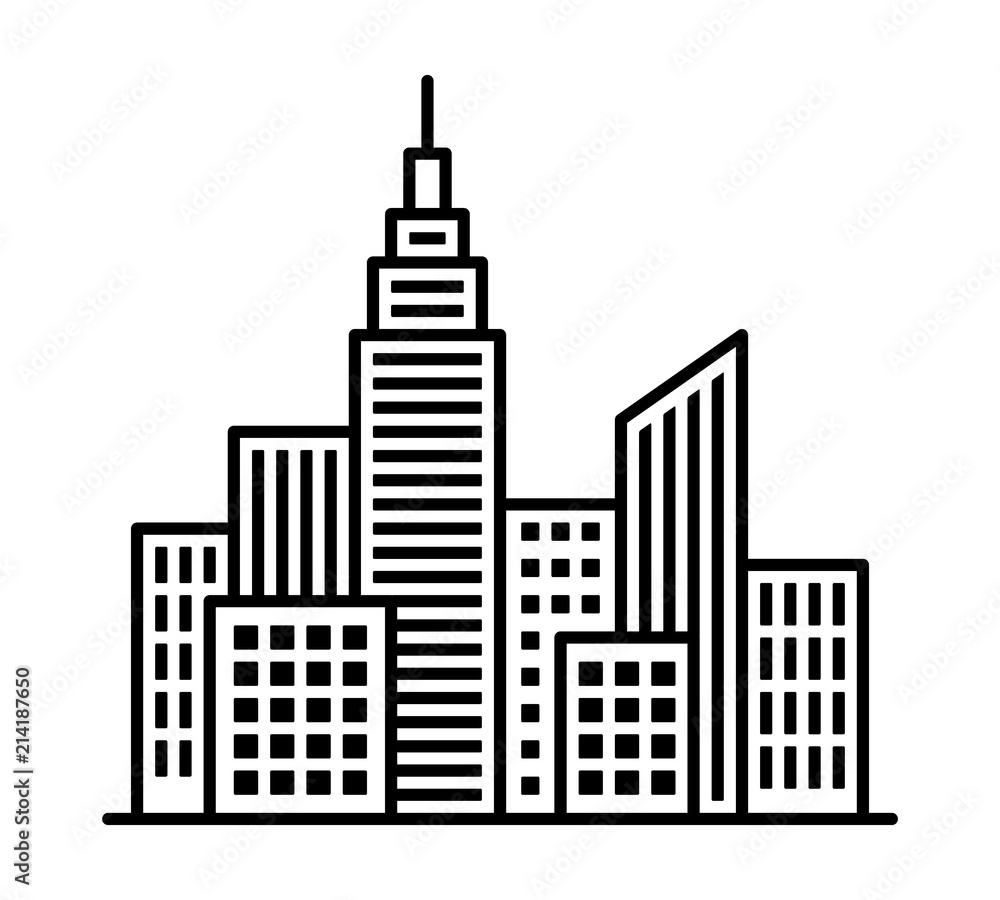 Fototapeta City metropolis skyline with tall buildings and high rises line art vector icon for apps and websites
