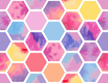 Watercolor Seamless Pattern Of Colorful Hexagons. Vector Geometric Texture For Background. Abstract Modern Illustration.