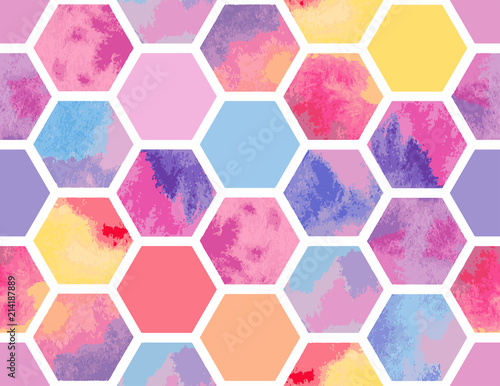 Fototapeten Künstlich Watercolor seamless pattern of colorful hexagons. Vector geometric texture for background. Abstract modern illustration.