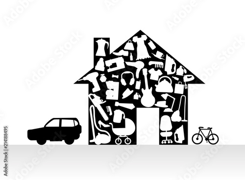 Fotografie, Obraz  Houses items Appliances Icon set in house silhouette background illustration