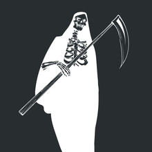 Death With A Scythe, White Silhouette On A Black Background