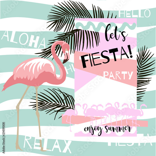 Summer abstract poster with flamingo. Vector illustration with hand drawn palm leaves © Nadezhda