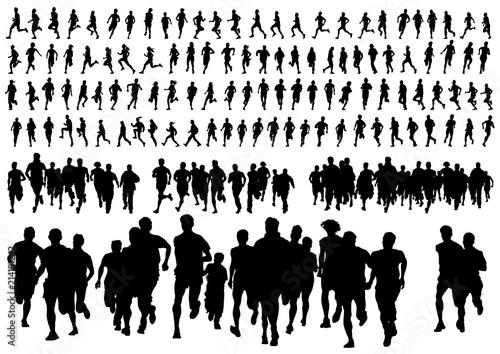 Fotografie, Obraz  Athletes women nd man in a sporty uniform running a marathon on a white backgrou