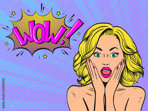 Surprised woman with open mouth. Wow female face. Comic woman. Pop Art vintage vector illustration