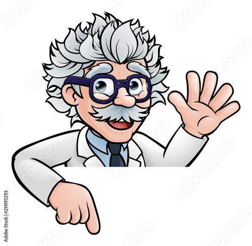 Canvas Print Cartoon Scientist Professor Pointing at Sign