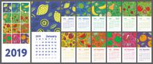 Calendar 2019. Vector English ...