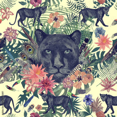 Poster Kunstmatig Seamless hand drawn watercolor pattern with panther, flowers, feathers, flowers.