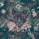 Seamless hand drawn watercolor pattern with panther, flowers, feathers, flowers. - 214195688