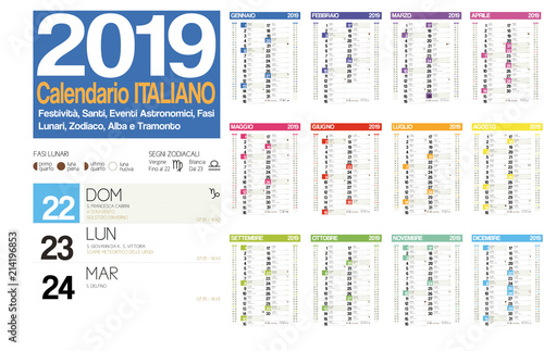 Fotografía  2019 italian calendar with italian holidays, zodiac , saints, moon phases, astro