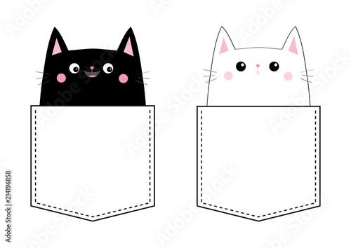 Black White Cat Love In The Pocket Pink Cheek Cute Cartoon Pet Animals Kitten Kitty Character Dash Line Hy Valentines Day T Shirt Design