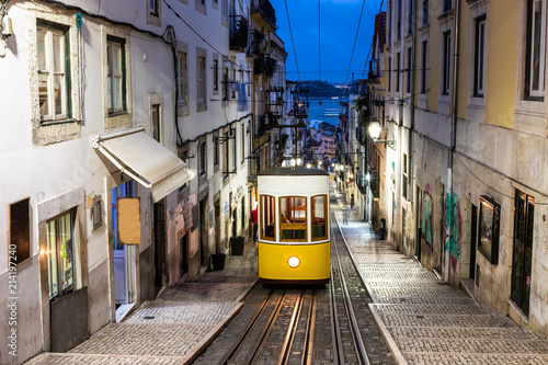 Lisbon's Gloria funicular. Canvas Print