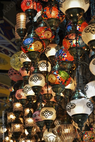 Photo  Traditional Turkish souvenir lamps and candles at Grand Bazaar