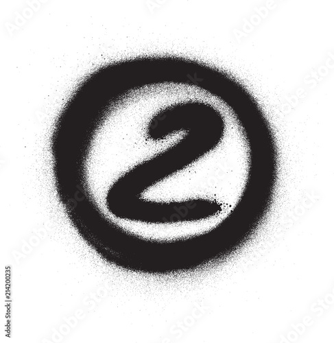 graffiti number two 2 in circle sprayed in black over white Canvas Print