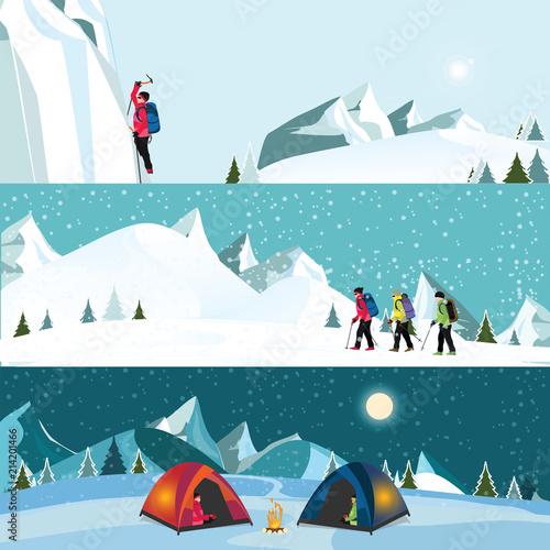 Cuadros en Lienzo Vector flat banner set of Ice climber