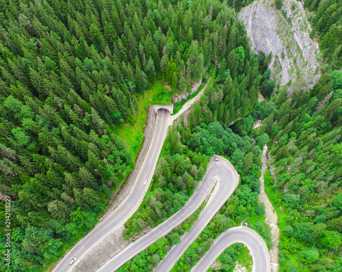 Vue aerienne tunnel entrance in forest. aerial view from drone