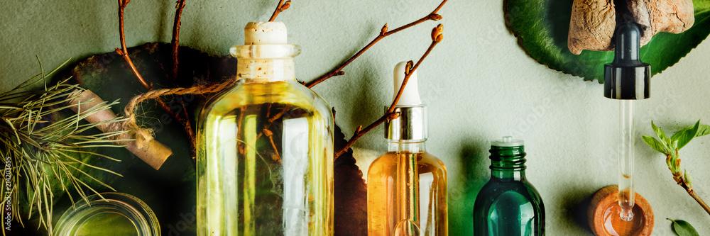 Fototapeta Organic bio cosmetics with herbal ingredients. Organic bio cosmetics with herbal ingredients. Natural oils for skin care