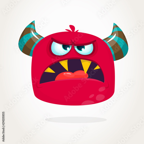Angry Cartoon Monster With Horns Big Collection Of Cute Monsters Halloween Character Vector Illustrations Buy This Stock Vector And Explore Similar Vectors At Adobe Stock Adobe Stock