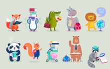 Back To School Animals Hand Drawn Style, Education Theme. Cute Characters. Bear, Penguin, Hippo, Panda, Fox And Others.