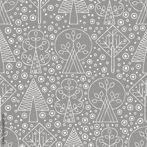 Vector hand drawn seamless pattern, decorative stylized childish trees Fotobehang