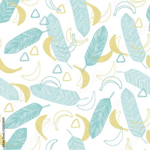 ladna-recznie-rysowane-doodle-wektor-wzor-w-naiwnym-stylu-tropikalna-lato-ilustracja-z-bananami-i-liscmi-dla-nawierzchniowego
