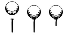 Set: Golfball Mit Tee In Versc...