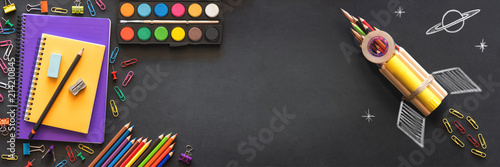 Cuadros en Lienzo Back to School Concept with Stationery Supplies and Blackboard