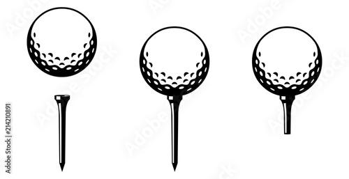 Set: Golfball mit Tee in verschiedenen Varianten / schwarz-weiß / Vektor / Icon Wallpaper Mural