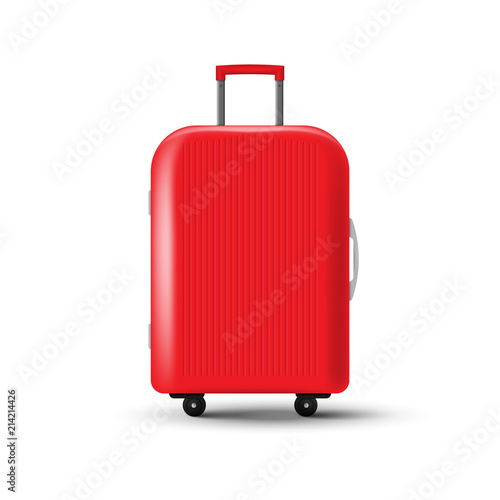 Fotografiet Travel suitcase with wheels isolated on white background