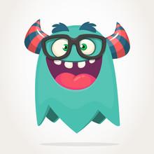 Happy Cartoon Monster Wearing ...