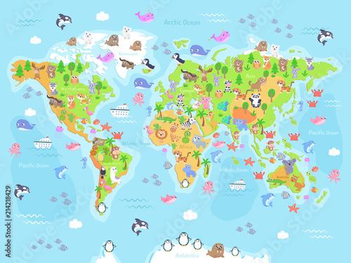 Fototapeta mapa świata dla dzieci  ilustracja-wektorowa-mapy-swiata-ze-zwierzetami-dla-dzieci-plaska-konstrukcja
