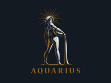 Sign Of The Zodiac Aquarius. V...