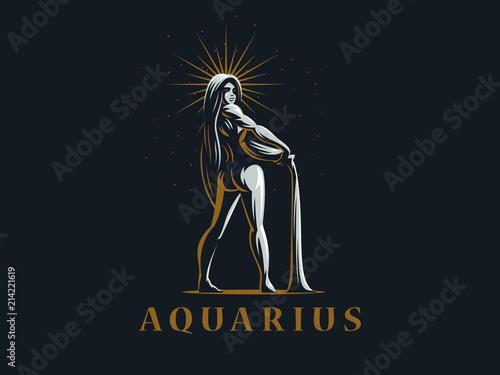 Photo Sign of the zodiac Aquarius. Vector illustration.