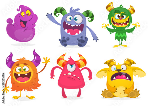 Poster Creatures Cute cartoon Monsters. Vector set of cartoon monsters: ghost, goblin, bigfoot yeti, troll and alien and gremlin. Halloween characters isolated