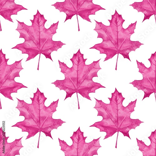 Spoed Foto op Canvas Kunstmatig Maple leaves. Watercolor painting. Seamless pattern. Background 2