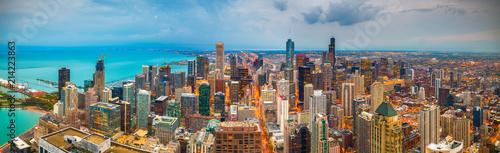 Poster Chicago Chicago, Illinois, USA Skyline at Dusk
