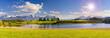 canvas print picture - Panorama Landschaft in Bayern mit Berge der Alpen und See im Allgäu