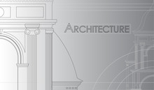 Architectural Wallpaper, Background For Printing Business Cards, Brochures. Vector Drawing Of A Church Building On A Gradient Background In An Abstract Composition. Outline Scheme, Blueprint Drawing
