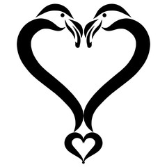 Naklejka Do sypialni Heart of two loving flamingos, creative symbol