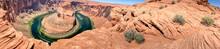 Panoramic View Of Horseshoe Bend In Summer Season, Page, Arizona