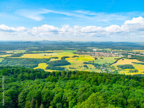 Foto op Aluminium Pool Rural landscape around Mimon on sunny summer day, view from Ralsko mountain, Czech Republic.