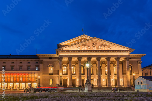 Fotobehang Theater Munich, Germany June 09, 2018: The historic national theater in Munich, Germany, at night