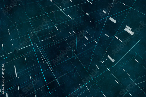 Fototapeta Internet and data science fiction background