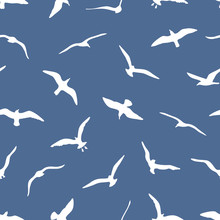 Seamless Pattern With Gulls On Blue Background