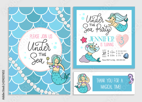 Under the sea party invitation for little girl mermaid Poster